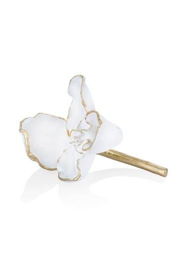 The Mia Dekor Çiçek Figürü Beyaz Beyaz